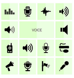14 voice icons vector