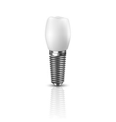 3d realistic render white tooth implant vector image