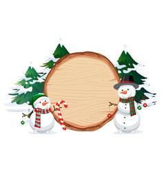 A snowman on wooden banner vector