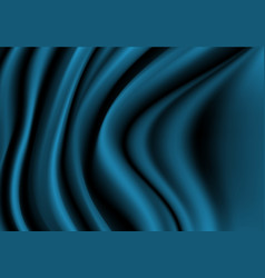 abstract dark blue fabric satin wave luxury vector image