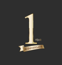 anniversary celebration design with gold number vector image