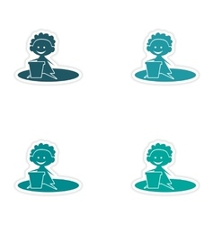 Assembly realistic sticker design on paper baby vector