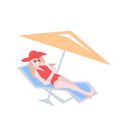 beautiful bikini woman relaxing on sunbed girl vector image