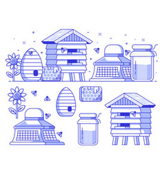 beekeeping and apiary icon set vector image