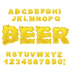 Beer ABC Alcoholic alphabet drink letters Yellow vector image