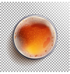 beer glass top view view from above beer vector image