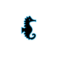 black sea horse icon isolated vector image