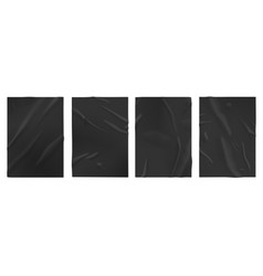 black wet paper glued posters old adhesive vector image