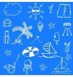 Blue backgrounds beach doodle vector