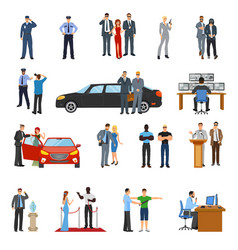 Bodyguard icons set vector