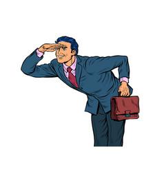 Businessman looks ahead vector