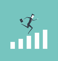 businessman running to the top of the graph vector image