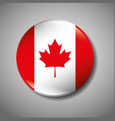 canadian flag button icon vector image