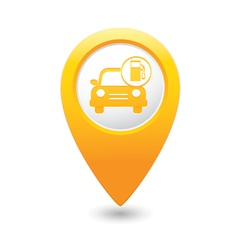 Car with gas station iconmap pointer yellow vector