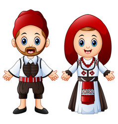 Cartoon greeks couple wearing traditional costumes vector
