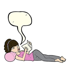 Cartoon pretty woman reading book with speech vector