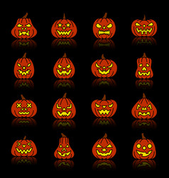 carving face halloween pumpkin silhouette icon set vector image