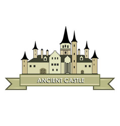 castle building sign travel landmark label fairy vector image
