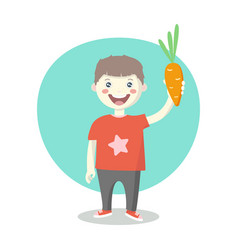 Cheerful little boy with orange carrot vector
