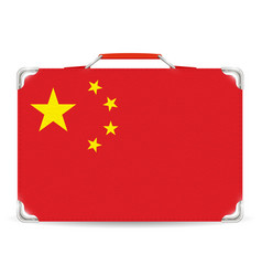 china flag on travel suitcase on white background vector image