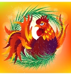 Colorful cartoon rooster with fir branch symbol vector image