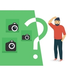 Confused man is choosing a camera vector image