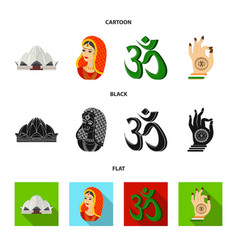 Country india cartoonblackflat icons in set vector