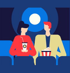 couple at the cinema - flat design style colorful vector image