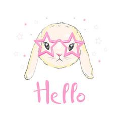 Cute bunny girl with crown dream big princess vector