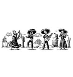 day dead dia de los muertos the skeleton vector image