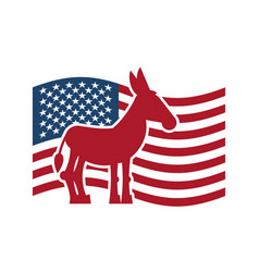 Democrat donkey and us flag political party vector
