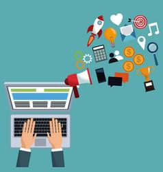 digital marketing hand work laptop vector image