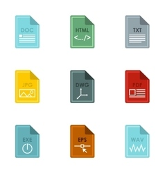 Document types icons set flat style vector