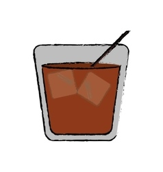 Drawing glass cocktail ice drink straw vector