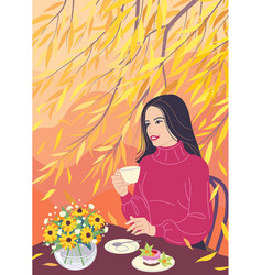 Dreamy woman drinking coffee and enjoying the vector