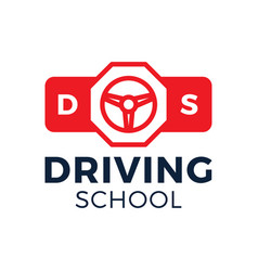 Driving school logo car wheel and stop road sign vector