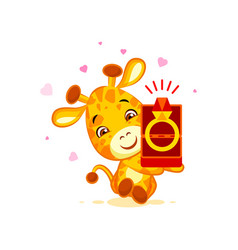 Emoji marry me character cartoon giraffe box with vector