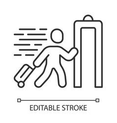 express entry linear icon passenger passing x-ray vector image
