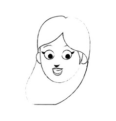 face of young pretty woman cartoon icon image vector image