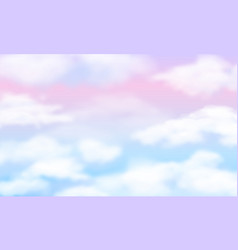 Fantasy sky white clouds on magic rainbow vector