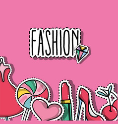 fashion patches trendy backgroun design vector image