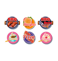 Fast food logo set pizza barbecue burger ice vector