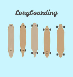 Flat different types wooden longboards vector
