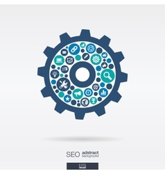 Flat icons in an cogwheel shape technology seo vector