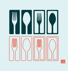 fork and spoon minimal and line design vector image