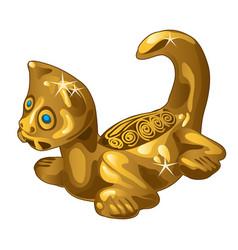 Golden ethnic figurine cat isolated on white vector