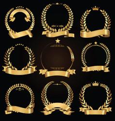 golden laurel wreath with golden ribbon vector image