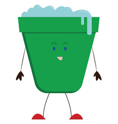 green bucket on white background vector image