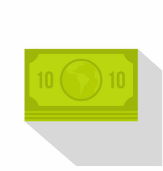 Green money banknote icon flat style vector