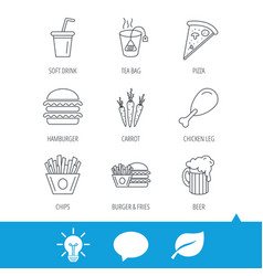 hamburger pizza and soft drink icons beer vector image